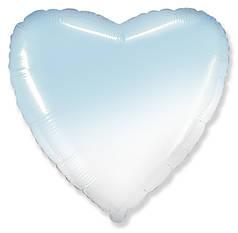 """Сердце 18"""" FLEXMETAL-ФМ Омбре бело-голубое"""
