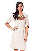 Льняное платье с вышивкой (XL-3XL)