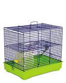 Клетка для мелких декоративных грызунов Микки с колесом  37*25*30, зеленая/синяя