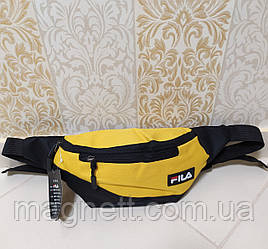 Сумка на пояс бананка чоловіча на 3 відділення FILA (жовтий колір)