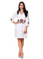 Женское белое платье с вышивкой (размеры S-2XL)