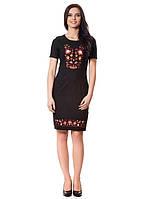 Облегающее черное платье с вышивкой (в размерах S-2XL)