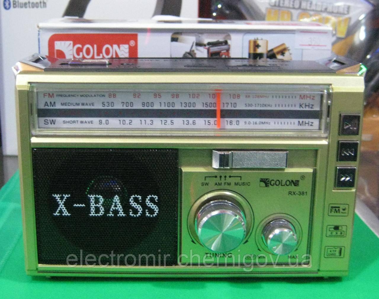 Радиоприемник Golon RX-381 USB-SD (с фонариком)