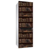Виниловая наклейка на холодильник Книжный шкаф (пленка самоклеющаяся фотопечать коричневый фон книги)