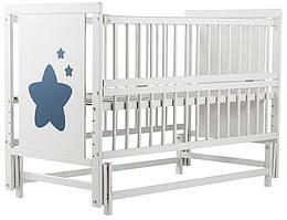 Кровать Babyroom Звездочка Z-02 маятник, откидной бок  бук белый