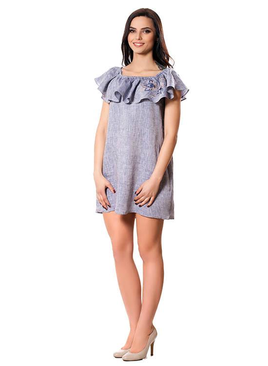 Короткое летнее льняное платье (размеры S-L)