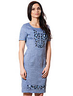 Красивое льняное платье с вышивкой (размеры S-2XL)