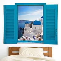 Виниловая интерьерная наклейка Окно с видом (белые дома с голубыми крышами Санторини Греция) имитация окна глянцевая, 1100х835 мм