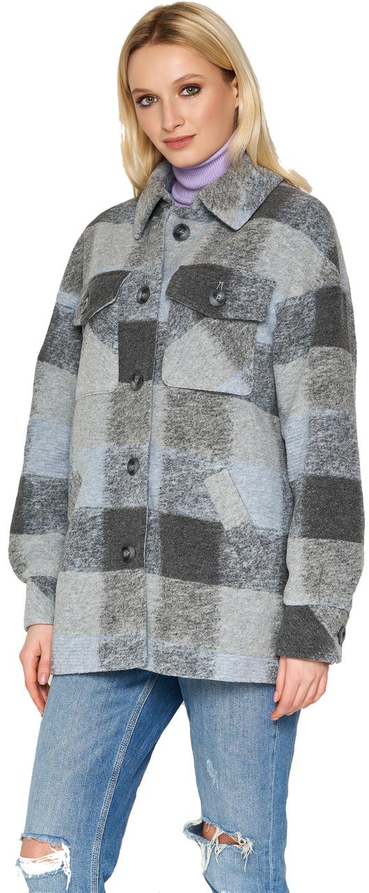 Женское демисезонное пальто NIO Collection Сабина Голубой, шерстяное пальто в клетку