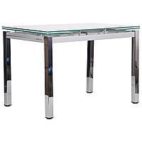Стол обеденный раскладной Сандро хром/стекло белый, TM AMF