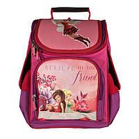 Рюкзак школьный 14 л Ортопедическая спинка каркасный для девочки Динь-динь Розовый