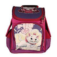 Рюкзак школьный 14 л Ортопедическая спинка каркасный для девочки Коты Аристократы Розовый
