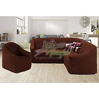 Чехол-накидка на угловой диван и кресло без оборки Concordia (жатка-креш) шоколад