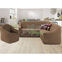 Чехол-накидка на угловой диван и кресло без оборки Concordia (жатка-креш) капучино