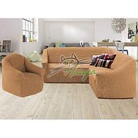 Чехол-накидка на угловой диван и кресло без оборки Concordia (жатка-креш) медовый