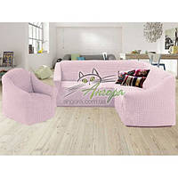 Чехол-накидка на угловой диван и кресло без оборки Concordia (жатка-креш) пудра