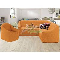 Чехол-накидка на угловой диван и кресло без оборки Concordia (жатка-креш) яркая горчица