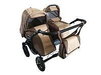 Универсальная детская коляска 2 в 1  Trans baby Jumper Duo Len,  коричневый+беж