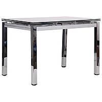 Стол обеденный раскладной Сандро хром/стекло серый, TM AMF