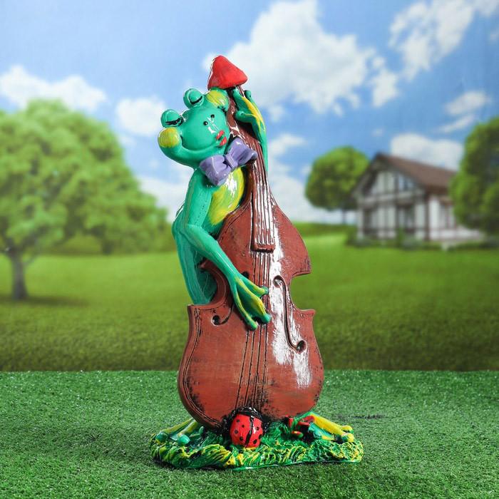 Садовая фигура Лягушка с контрабасом 46 см гипс
