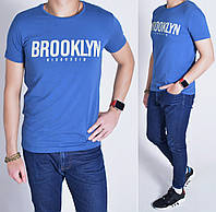 Мужская футболка / Размеры 46/48/50/52/54, Узбекистан, Стрейч-коттон - синяя