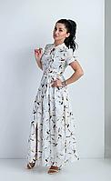 Летнее женское платье в пол полуприлегающего силуэта с двумя нагрудными выточками, фото 1