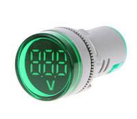 Вольтметр цифровой AC 60-500В круглый врезной 22мм, зеленый