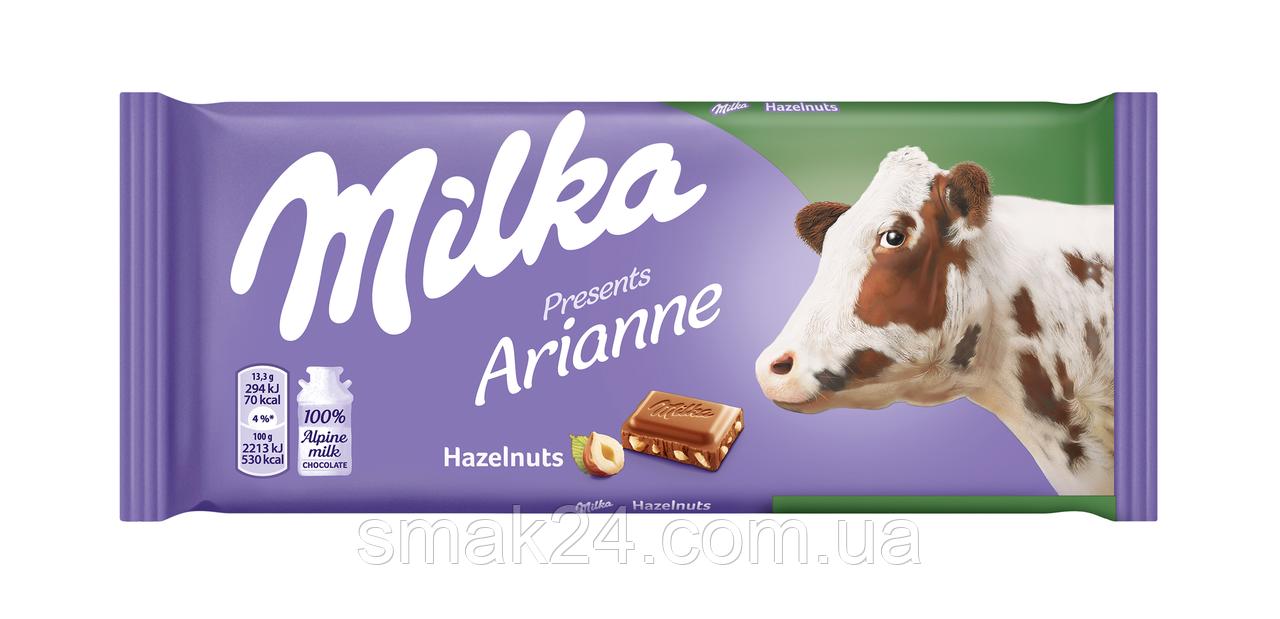 Шоколад молочный Milka Hazelnuts (с лесным орехом) Швейцария 100г