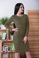 """Сукня ангоровое """"Перріс"""" з ґудзиками на рукавах 42, хакі"""