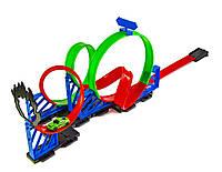 Трек Hot Wheels  с запуском, мертвой петлей (4 кольца) и машинкой HW03