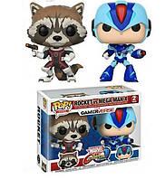 Набор фигурок Funko Pop Реактивный Енот и Мегамен Икс2-pack Rocket vs Megaman X Games Marvel vs Capcom MC RM