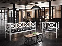 Кресло и диван Tenero 3-х местный Грин Трик Лофт 50х80/50х180 Белый