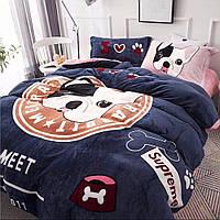 Плюшевое постельное белье микрофибра Homytex Евро размер с Собачкой