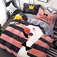 Плюшевое постельное белье микрофибра Homytex Евро размер Фламинго