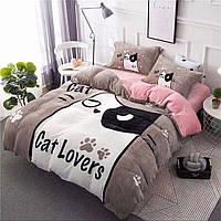 Плюшевое постельное белье микрофибра Homytex Евро размер С котиком
