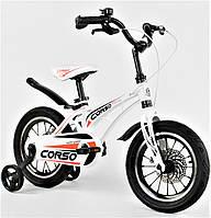 """Детский велосипед двухколесный 14 дюймов белый для девочки """"CORSO"""" двойные диски с усиленной спицей"""