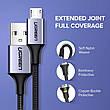 Оригінальний кабель UGREEN US290 MicroUSB Fast Charge 3A швидка зарядка 60146 Black, фото 3
