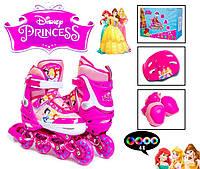 Комплект роликов Disney с защитой и светящими колесами Princess размер 34-37