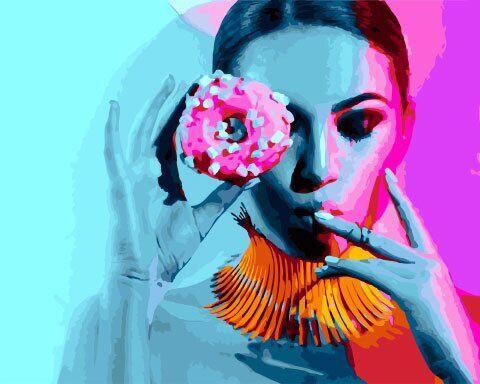 "Картина по номерам. Rainbow Art ""Дама и пончик"" GX27530-RA"