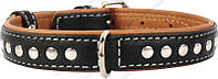Нашийник для собак COLLAR SOFT з металевими прикрасами чорний верх 7194, ширина 15мм, довжина 27-36см