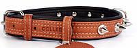 Ошейник для собак COLLAR SOFT с шипами коричневый верх 7224, ширина 35мм, длина 57-71см
