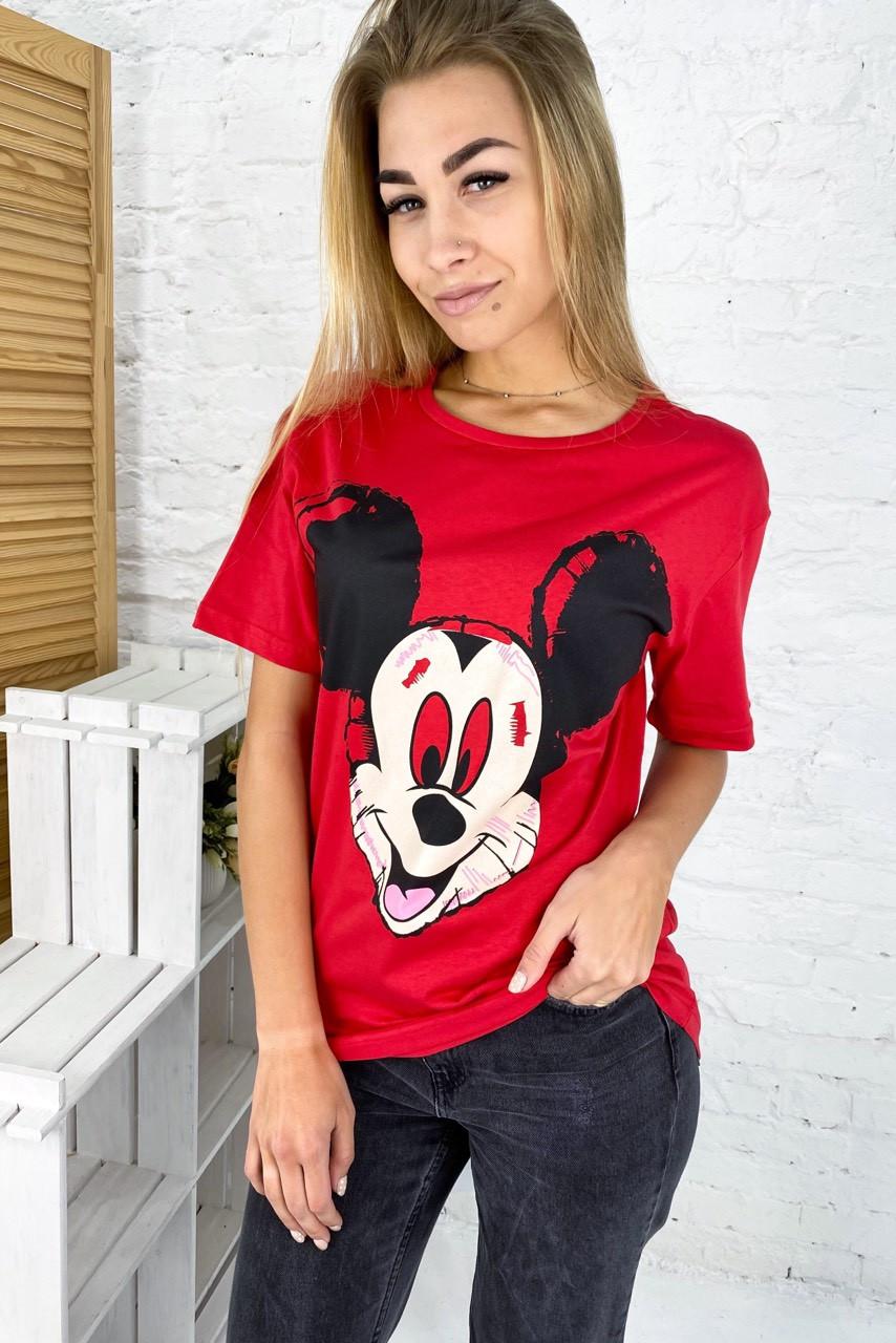Молодежная футболка с Микки фасона oversize LUREX - красный цвет, S (есть размеры)