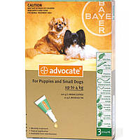 Капли Advocate Адвокат от глистов, блох, клещей для собак весом до 4 кг, 3х0.4 мл 134.0417