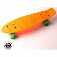 Скейтборд, Пенни Борд Penny Board Fish Оранжевый Светящиеся Колеса (Sd)