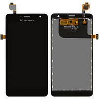 Дисплейный модуль (дисплей + сенсор) для Lenovo K860, черный, оригинал
