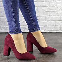 Туфли женские Nutella бордовые на каблуках 1486