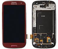 Дисплейный модуль (дисплей + сенсор) для Samsung Galaxy S3 i9300, c рамкой, красный, оригинал