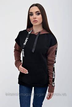 Худи женское 102R021 цвет Черно-коричневый