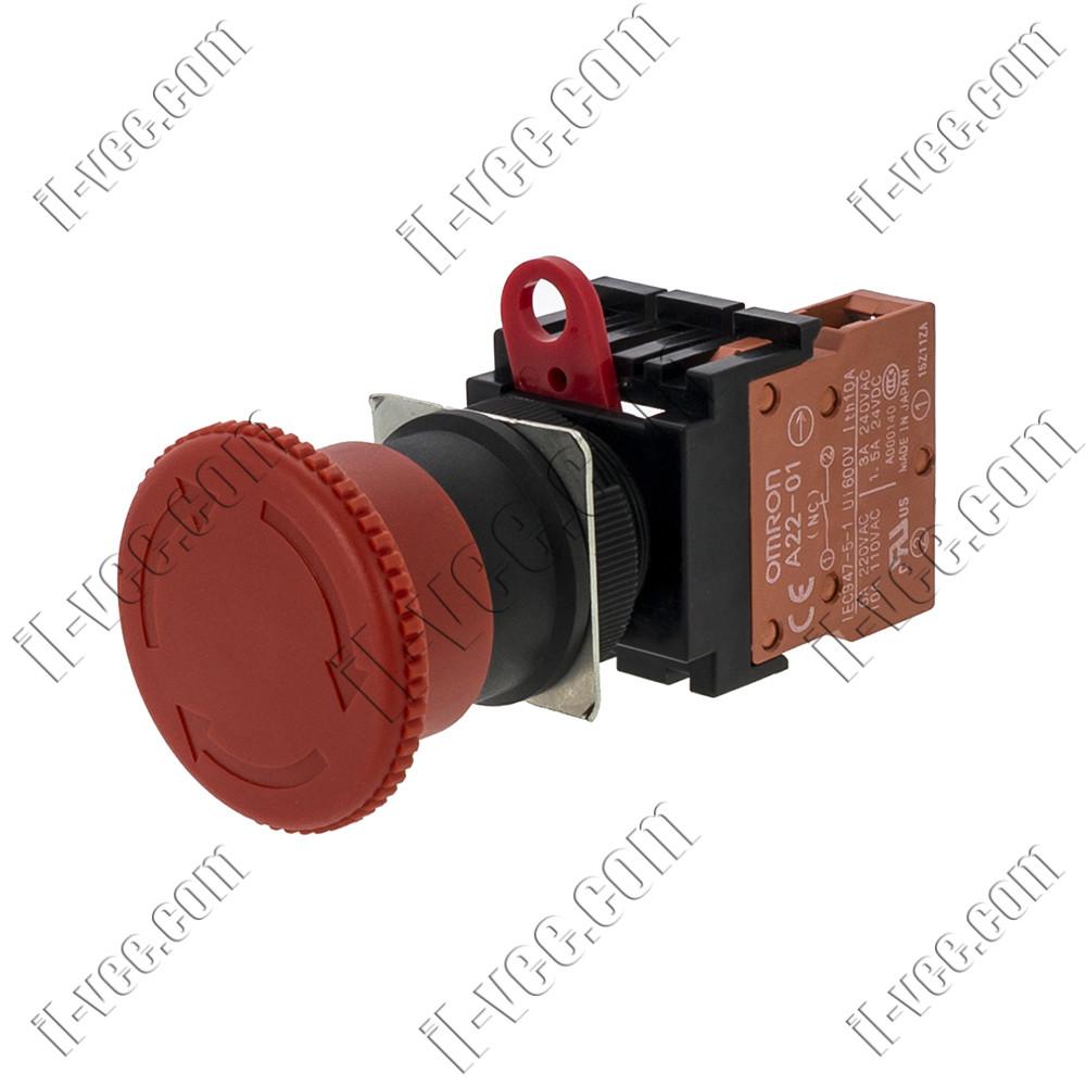 Кнопка безопасности с фиксацией Omron A22E-M-01, SPST-NC, 40mm