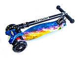 Самокат детский Maxi складной руль колеса светяться. Вселенная., фото 3